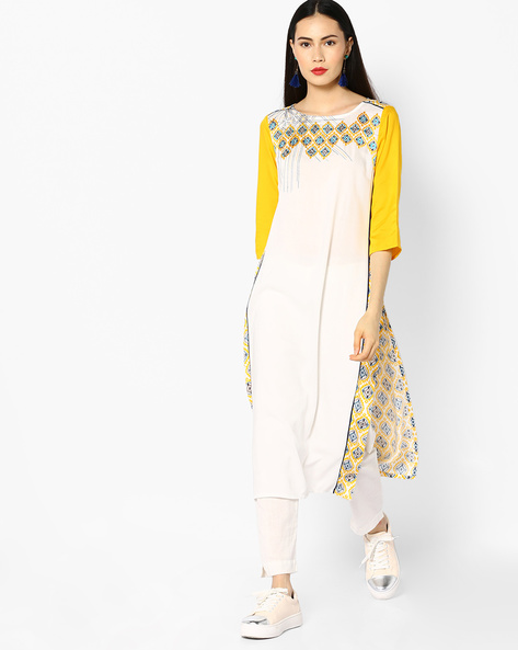 Printed Straight Kurta With Embroidery By AURELIA ( Yellow )