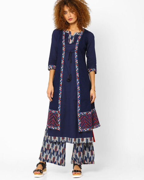 Embroidered Open-Front Long Jacket By AJIO ( Blue )