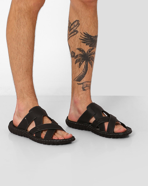 Genuine Leather Criss-Cross Flip-Flops By RED TAPE ( Black )