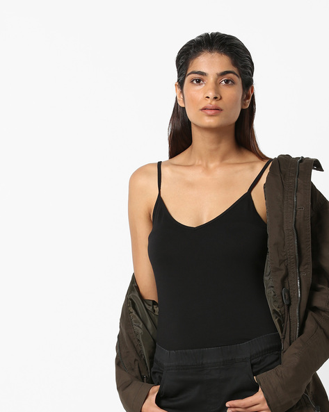 Cotton Strappy Top By Vero Moda ( Black )