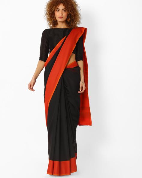Handloom Saree With Contrast Border By SHRIKALA ( Black )