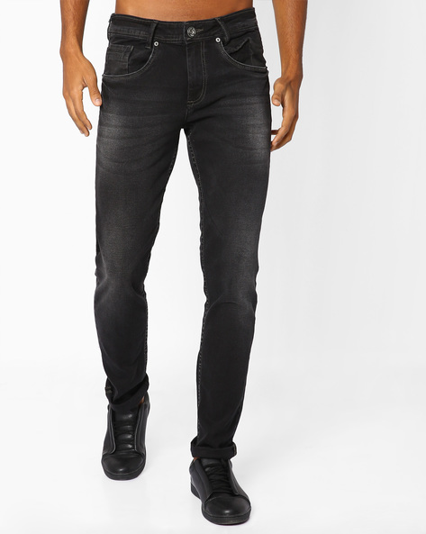 Slim Fit Jeans With Whiskers By MUFTI ( Black )