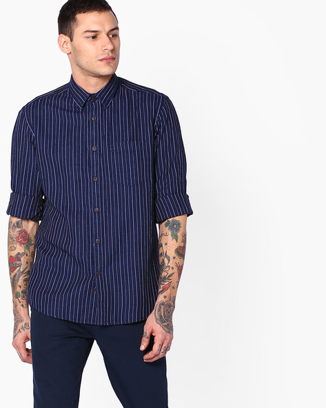 Striped Shirt With Patch Pocket By INDIAN TERRAIN ( Indigo )