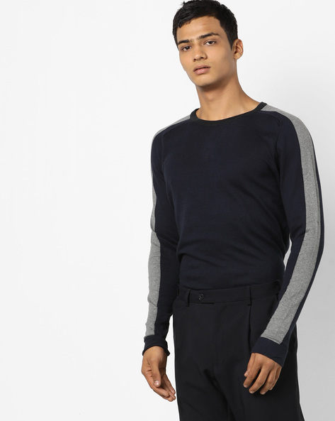 Crew-Neck Pullover With Contrast Panels By Jack & Jones ( Blue )