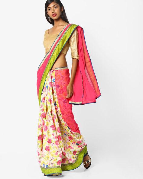 Floral Print Half & Half Saree By CHHABRA 555 ( Pink )