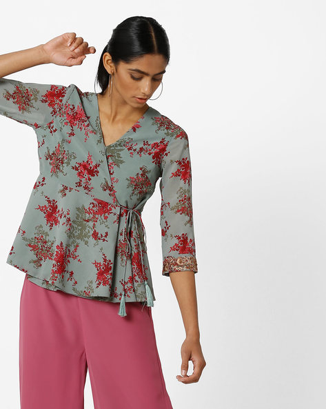 Floral Print Angrakha Tunic With Tassel Tie-Up By AJIO ( Green )