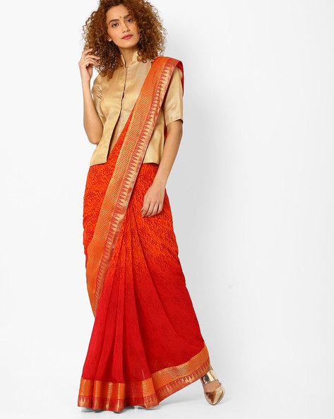Printed Saree With Ombre Effect By Arissa ( Red )