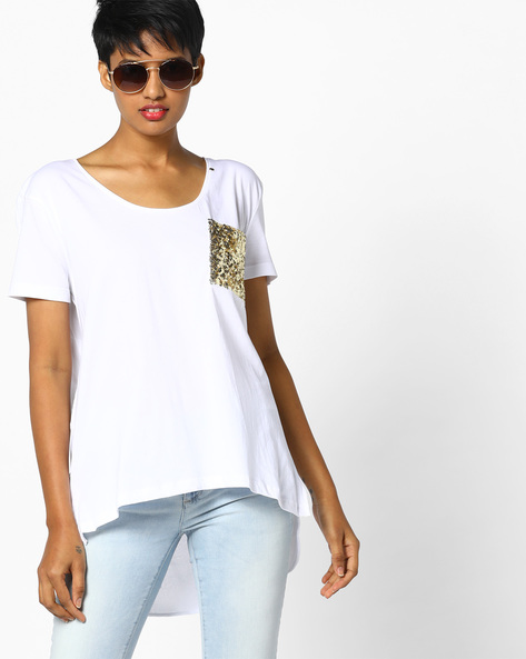 High-Low T-shirt With Sequinned Pocket By GAS ( 0001 )
