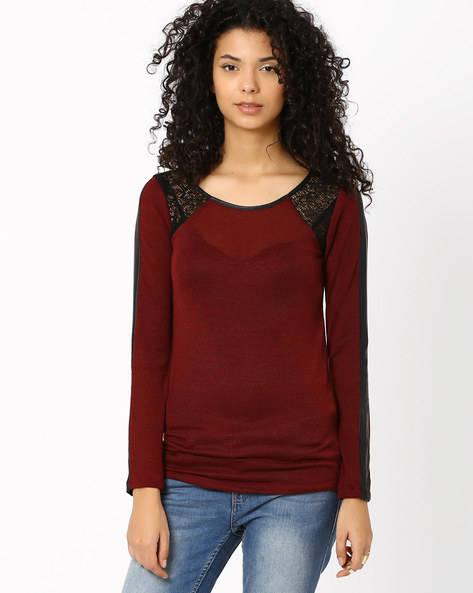 Knitted Top By SF Jeans By Pantaloons ( Maroon )
