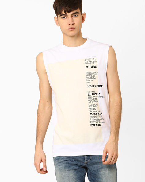 Graphic Print Slim Fit T-shirt By Blue Saint ( White )