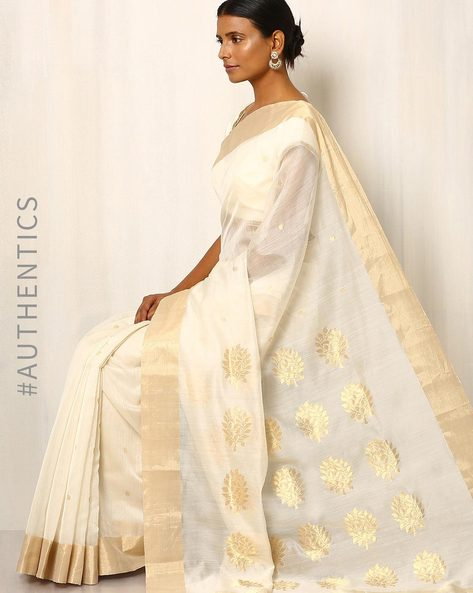 Handwoven Pure Silk Cotton Chanderi Saree By Indie Picks ( White )