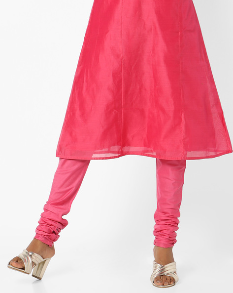Churidar Pants With Waist Tie-Up By AJIO ( Pink )
