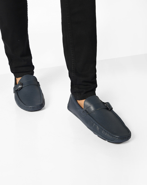 Textured Genuine Leather Loafers With Buckle By Carlton London ( Navy )