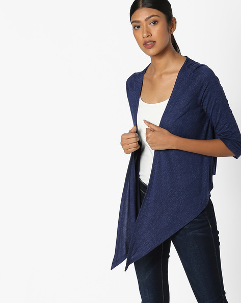 Open-Front Shrug With Dipped Hemline By RIO ( Navy )