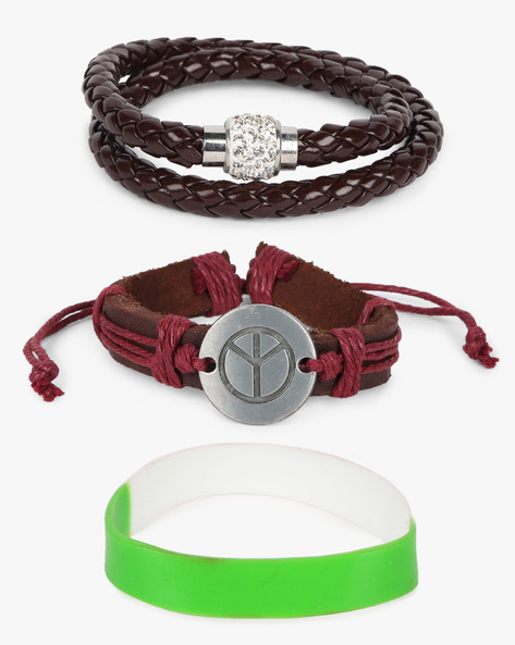Set Of 3 Bracelets By ALPHA MAN ( Brown )