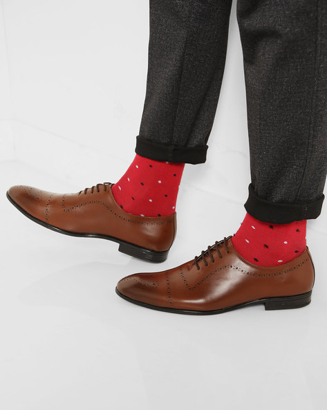 Lace-Up Oxford Shoes With Cut-Outs By Modello Domani ( Brown )