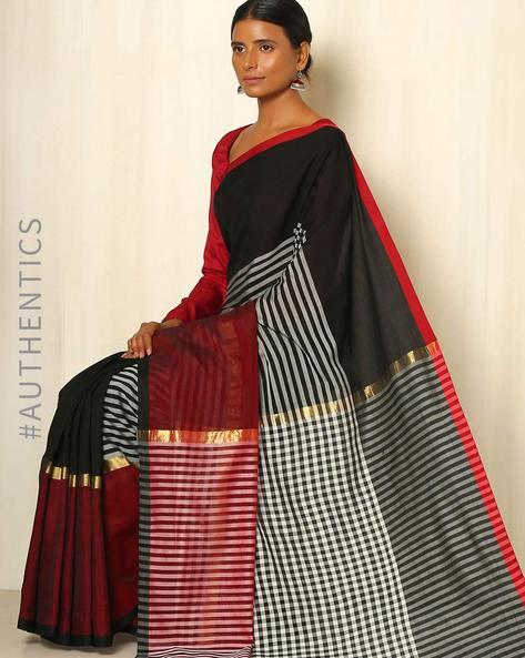 Handwoven Maheshwari Silk Cotton Saree By GoCoop ( Maroon )