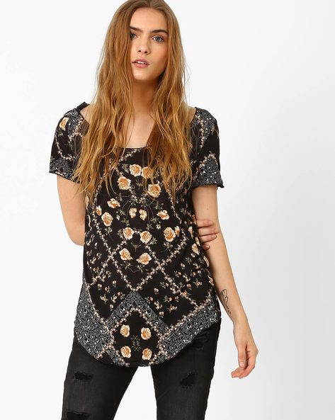 Floral Print Top By Vero Moda ( Black )