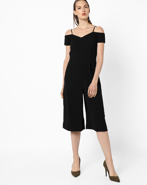Strappy Cold-Shoulder Jumpsuit By AJIO ( Black )
