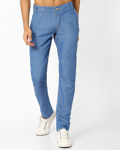 Slim Jeans With Slant Pockets By VOI JEANS ( Blue )
