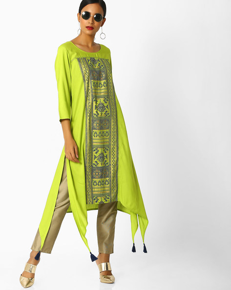 Floral Print Kurta With Handkerchief Hem By Melange By Lifestyle ( Lime )
