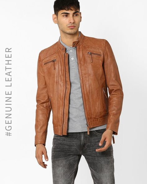 Leather Jacket With Zip Pockets By TEAKWOOD LEATHERS ( Tan )
