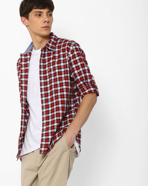 Checked Shirt With Spread Collar By LEVIS ( Red )