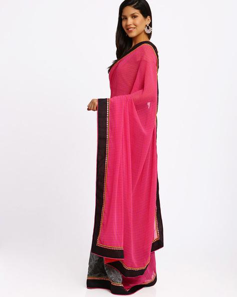 Printed Half & Half Chiffon Saree By Viva N Diva ( Pink )
