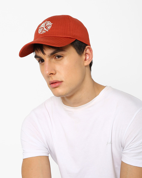 Baseball Cap With Embroidery By Feathers ( Orange )