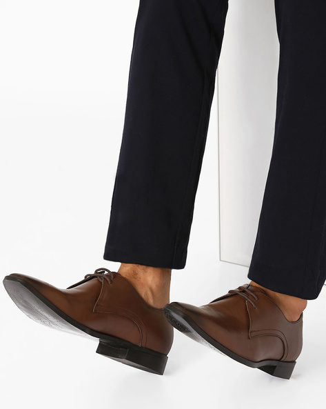 Leather Derby Shoes By FAMOZI ( Brown )