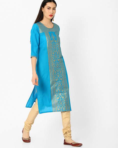 Printed Straight Kurta By AURELIA ( Blue ) - 440772894001