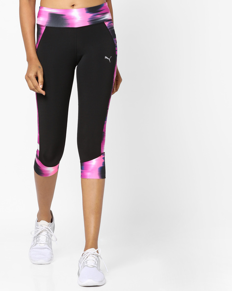 Printed Cropped Leggings By Puma ( Black )