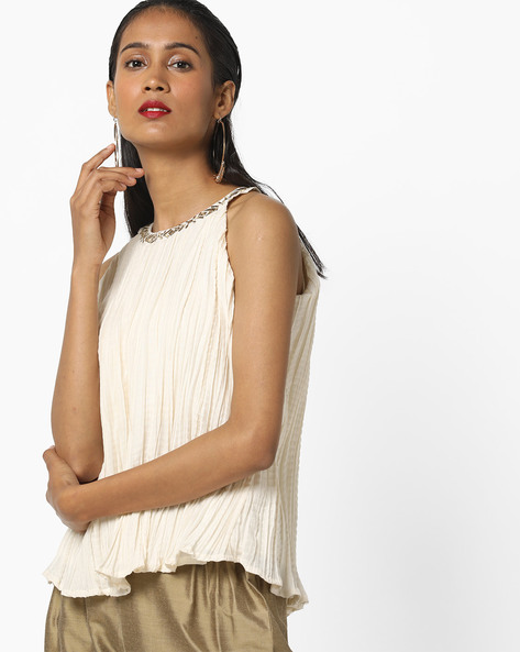 Crushed Top With Embroidered Collar By Global Desi ( Offwhite )