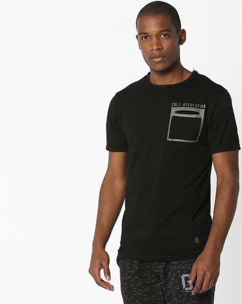 Crew-Neck T-shirt With Placement Print By DNMX ( Black )