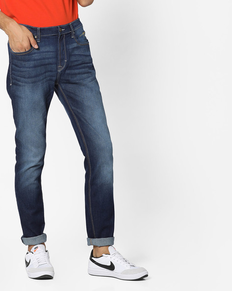 Tapered Fit Stone Washed Jeans By Lee ( Blue )