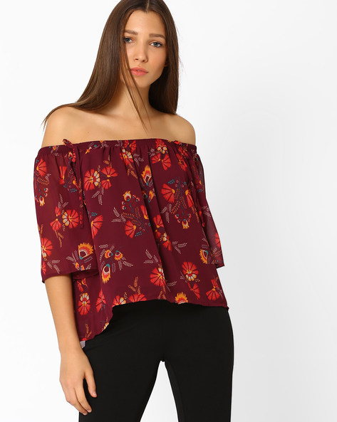 Printed Off-Shoulder Top By AJIO ( Red )