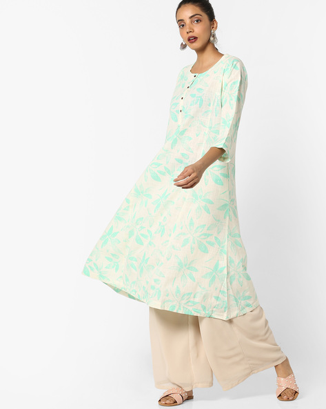 Printed A-line Kurta By Project Eve IW Casual ( Green )