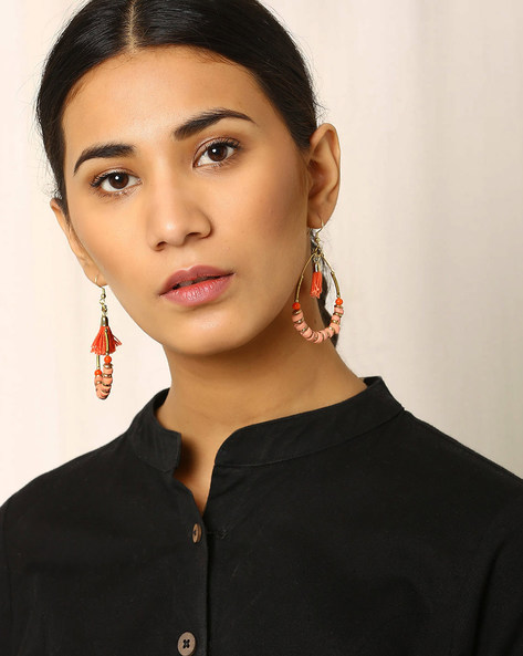 Beaded Drop-Earrings With Tassels By Indie Picks ( Peach )