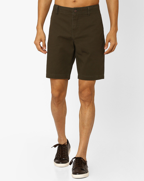 Woven Slim Fit Shorts By AJIO ( Olive )