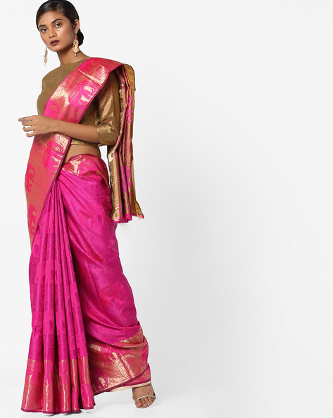 Woven Jacquard Saree With Zari Border By Era ( Pink ) - 460117545001
