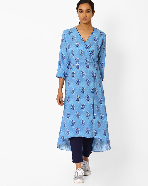 Angrakha Kurta With High-Low Hem By Bannos Swagger ( Blue )