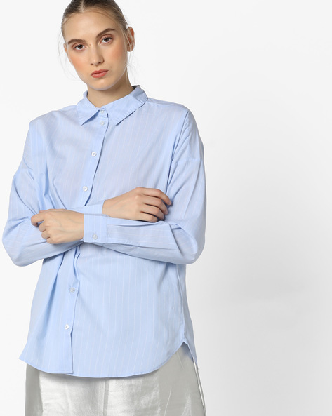 Pinstriped Shirt With Spread Collar By Only ( Lblue )