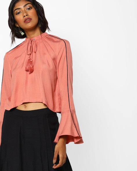 High-Neck Swing Top By AJIO ( Pink )