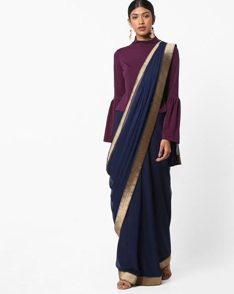 Chiffon Saree With Contrast Border By Vastrangi ( Navyblue ) - 460160763001