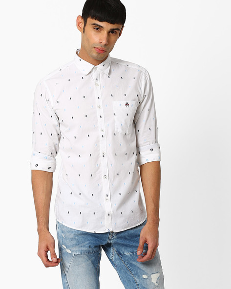 Printed Slim Fit Shirt By CRIMSOUNE CLUB ( White )