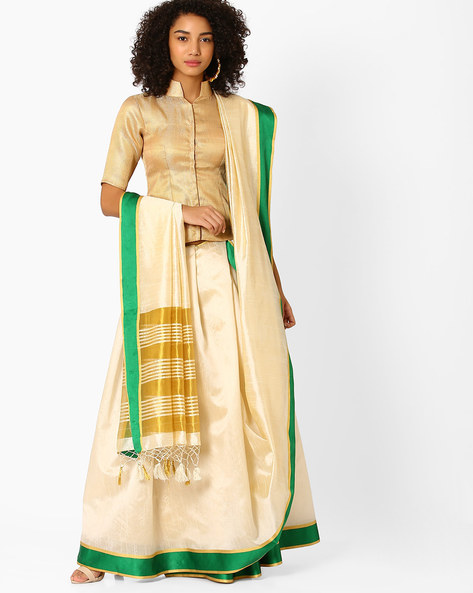 Art Silk Saree With Contrast Border By Amori ( Green )