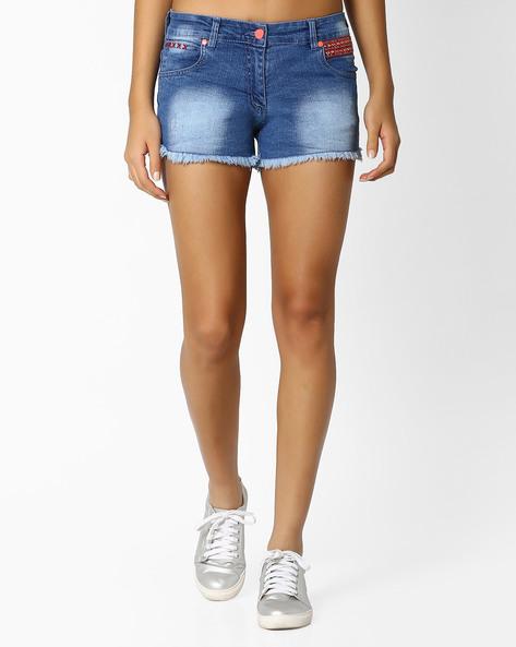 Washed Denim Skinny Fit Shorts By RIO ( Ltblue )