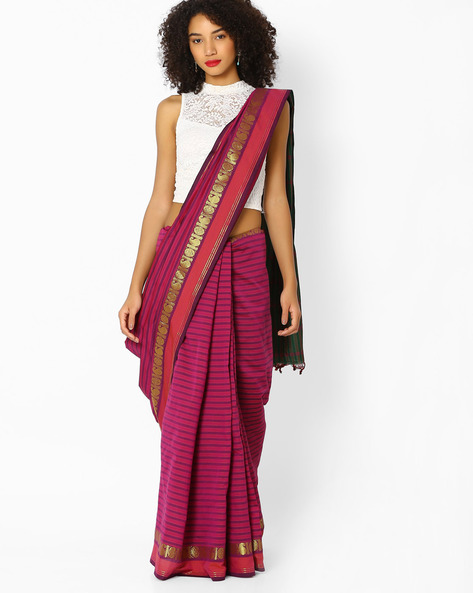 Striped Saree With Zari Woven Border By Vastrangi ( Pink )