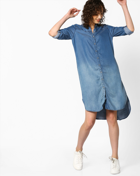 Washed Denim Shirt Dress With High-Low Hemline By PE WW Denim ( Mediumblue )