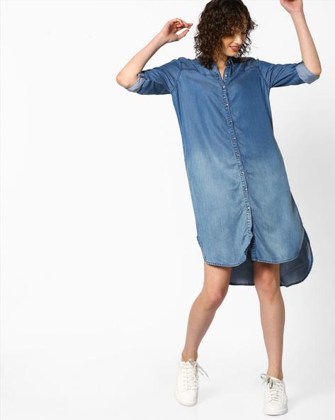 Washed Denim Shirt Dress With High-Low Hemline By Project Eve WW Denim ( Mediumblue )